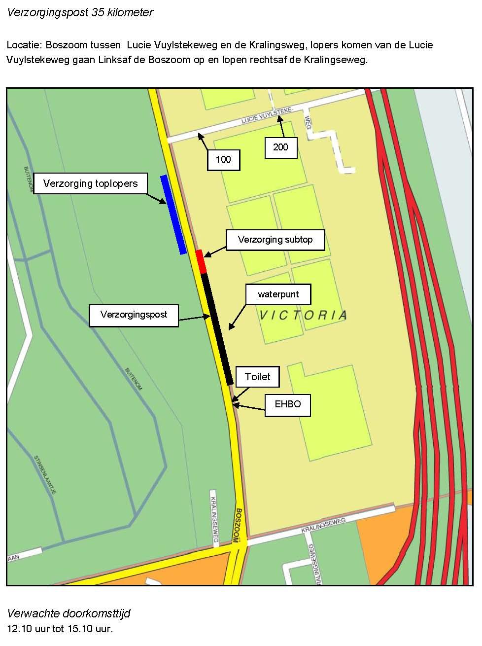 Locatie verzorgingspost marathon van Rotterdam